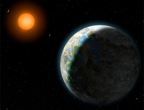 Artist's concept of an Earth-like world orbiting an alien star