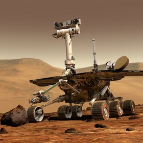 Artist's concept of a rover on Mars