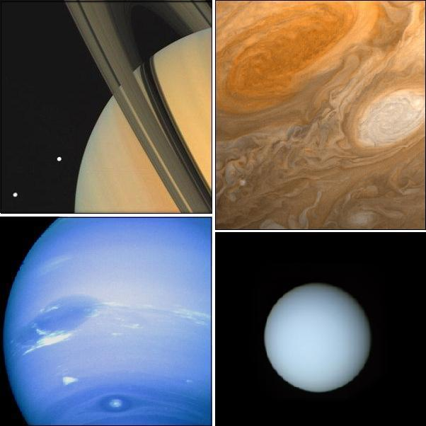 Voyager images of the outer planets