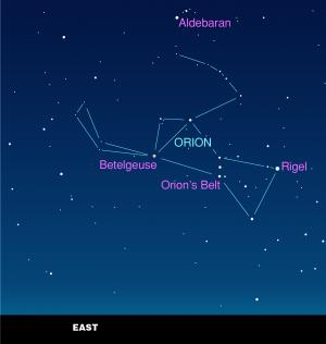 The constellation Orion stands above the eastern horizon