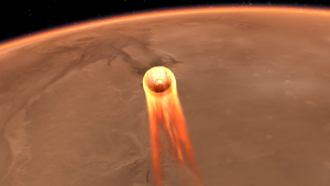 Mars InSight during entry into Mars' atmosphere