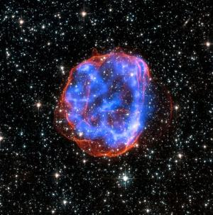 Combined X-ray and optical image of a supernova remnant
