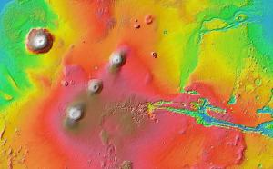 Elevation view of Tharsis region on Mars