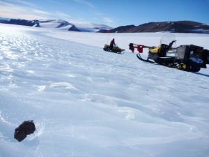 A meteorite on the Antarctic ice