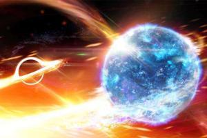Black hole begins to swallow a neutron star
