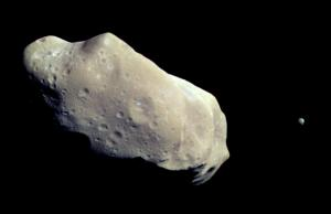 Galileo view of asteroid Gaspra and its moon, Ida