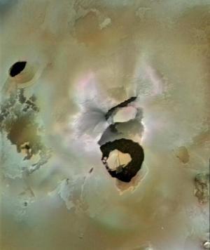 View of Loki Patera, a lake of molten rock on Io, a moon of Jupiter
