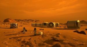 Artist's concept of a Mars base
