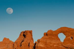 Moon over Arches National Park