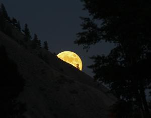Moonrise over Yellowstone National Park