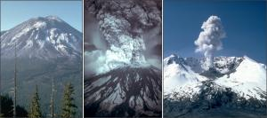 Before, during, and after photos of the May 18, 1980, eruption of Mount St. Helens, Washington