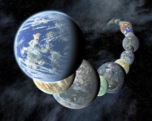 Artist's concept of possible Earth-like worlds in other star systems