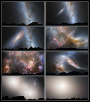sequence of images depicting the merger of M31 and Milky Way galaxies