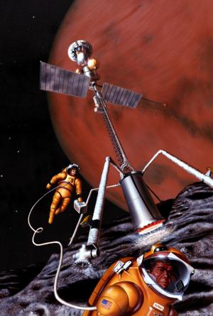 Artist's concept of astronauts on Phobos, a moon of Mars