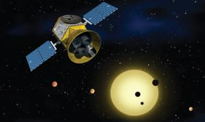 Artist's concept of TESS in front of a star with several transiting planets