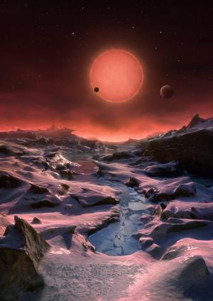 The faint star Trappist-1 and three of its planets