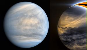 Daytime and nighttime views of Venus