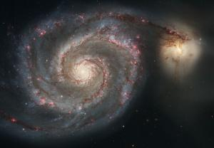 Hubble view of M51, the Whirlpool galaxy, and its companion galaxy