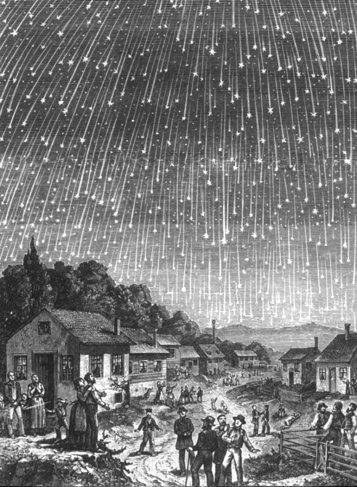 Illustration of 1833 Leonid meteor storm
