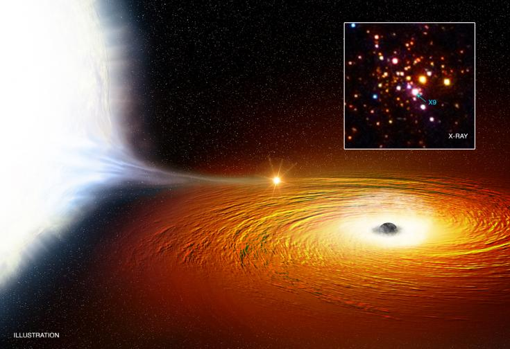 Artist's concept of 47 Tucanae X9, a likely black hole-white dwarf binary