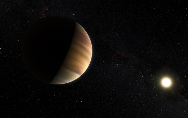 Artist's concept of the star system 51 Pegasi, featuring a giant planet