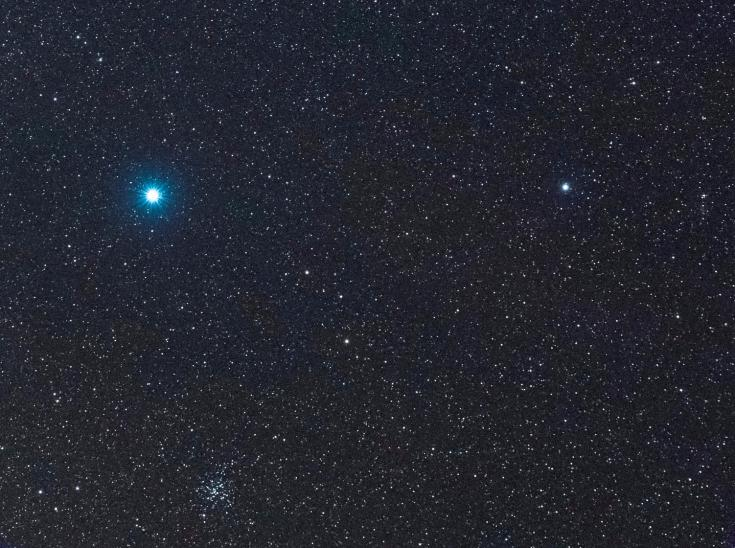 Sirius, Mirzam, and M41 in Canis Major, the big dog
