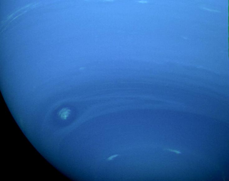 Voyager 2 view of the southern hemisphere of Neptune