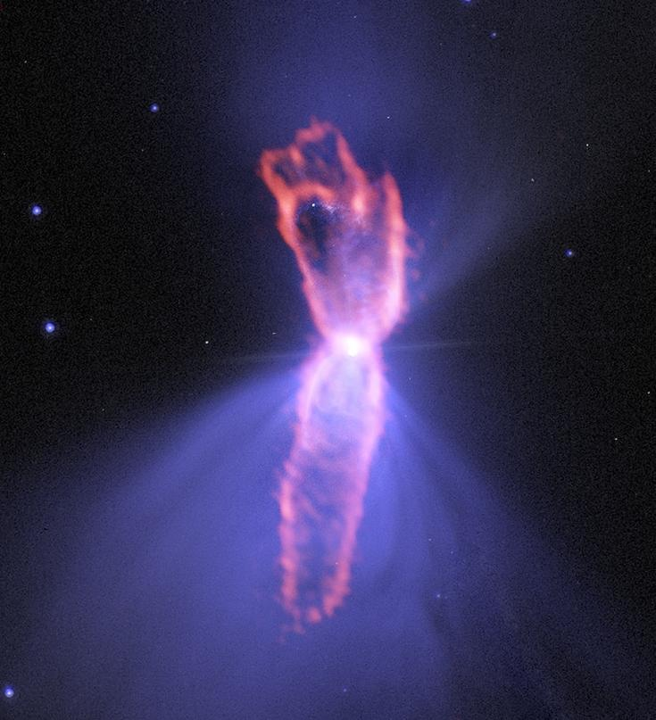 False-color image of the Boomerang Nebula, which is being created by a dying star