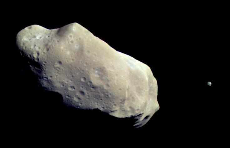 Galileo view of asteroid Gaspra and its moon, Ida