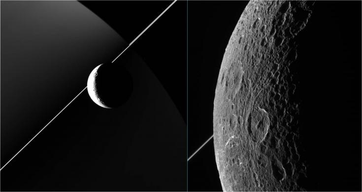 Two views of Saturn's moon Dione from Cassini