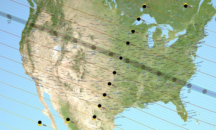 Map showing the circumstances of the August 21, 2017, total solar eclipse