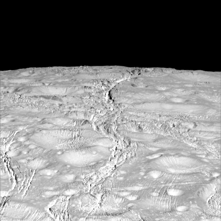 Cassini view of north polar region of Enceladus