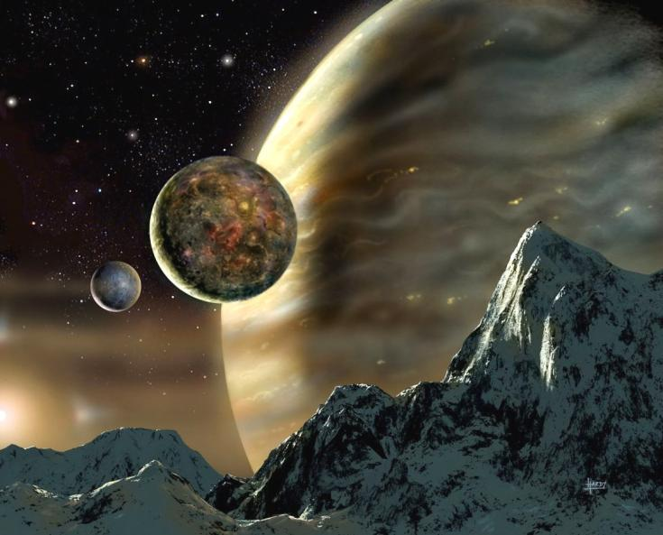 Artist's concept of a moons orbiting a Jupiter-like exoplanet