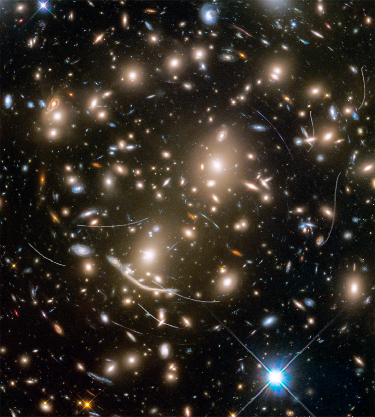Hubble view of Abel 370 galaxy cluster with intervening asteroids