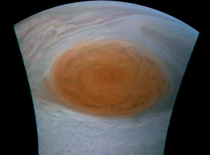 Juno view of the Great Red Spot; July 10, 2017