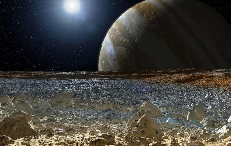 Jupiter above Europa