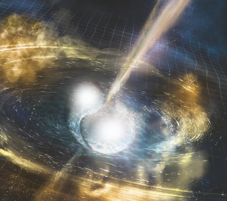 Artist's concept of two neutron stars merging to make a black hole