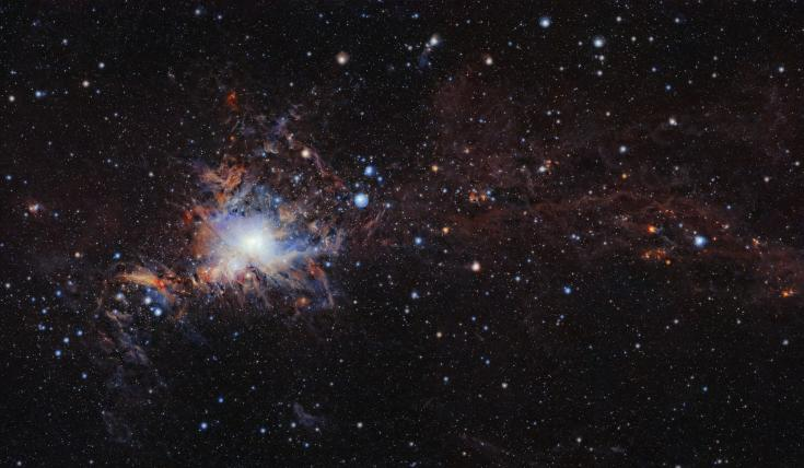 Infrared view of Orion Nebula and surrounding clouds of gas and dust