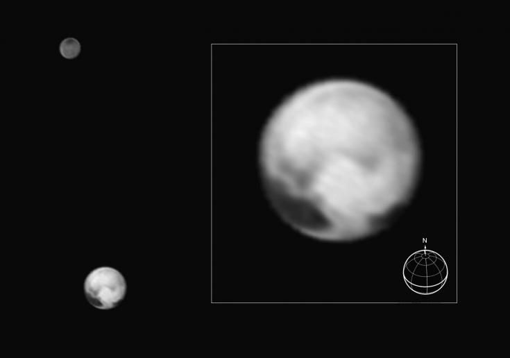 New Horizons view of Pluto and Charon, July 1, 2015