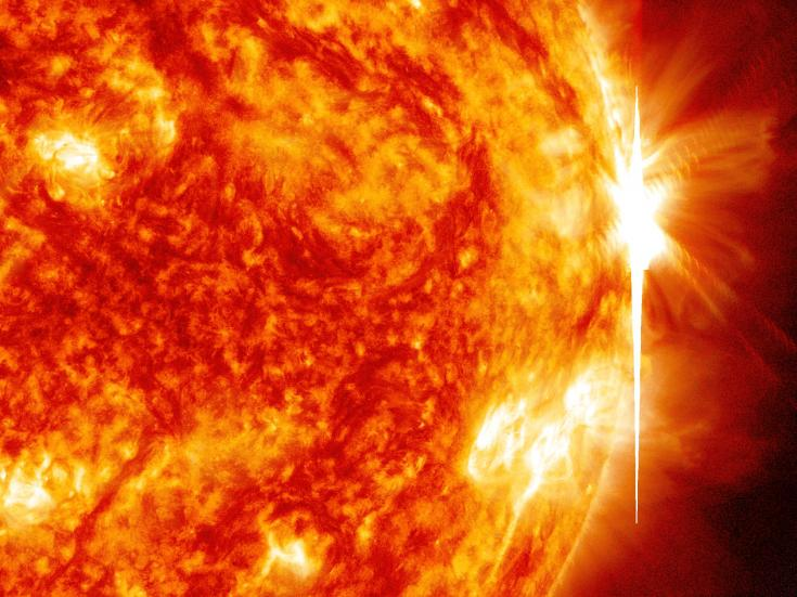 Space-based view of a powerful solar flare