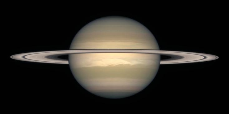 Hubble Space Telescope views shows the oblateness of Saturn