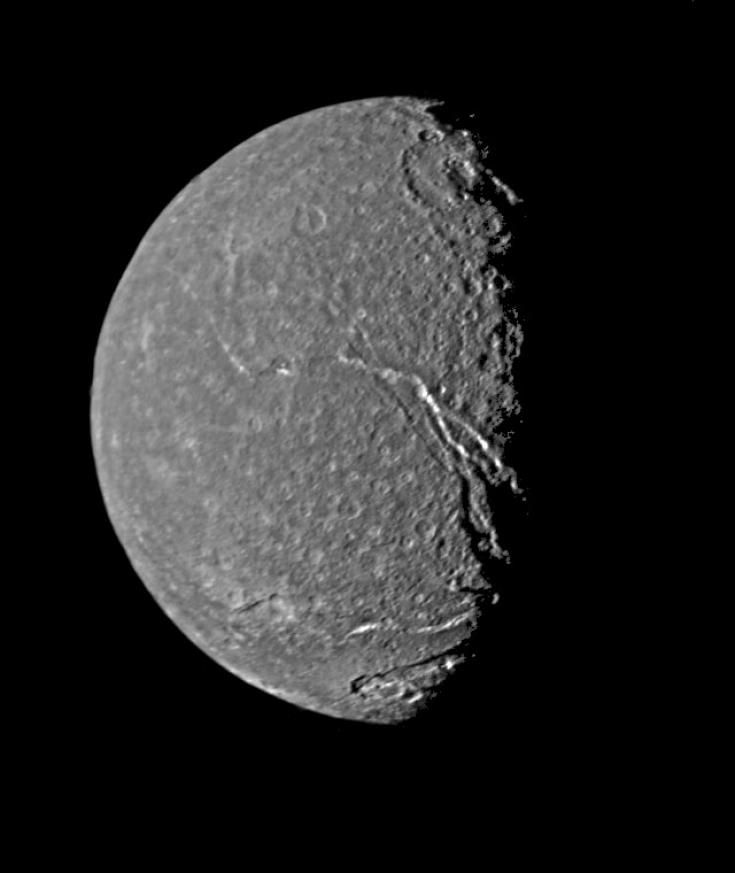 Voyager 2 view of Titania, largest moon of Uranus
