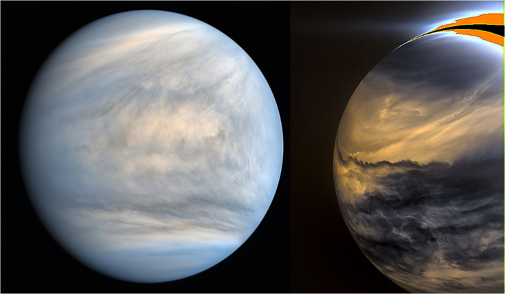 Daytime and nighttime views of Venus
