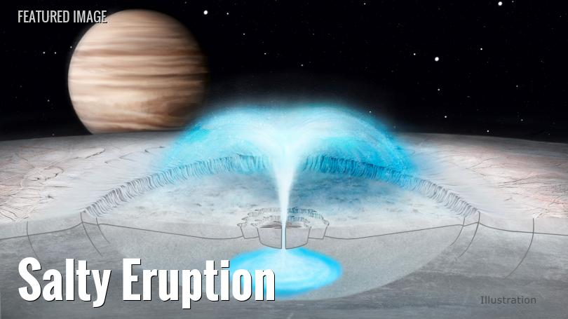 artist's concept of water erupting from europa