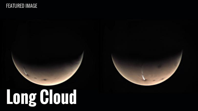 Cloud streaming from Arsia Mons, a volcano on Mars