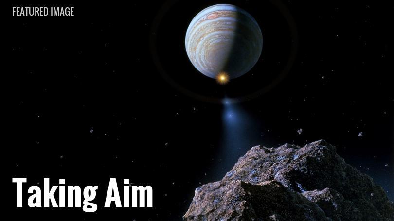 Shoemaker-Levy 9 takes aim at Jupiter