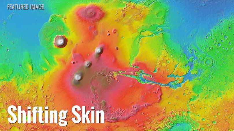 Volcanoes on Tharsis Ridge, Mars