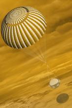 Davinci capsule parachutes toward Venus