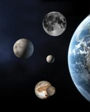 Three dwarf planets shown to scale with Earth and Moon