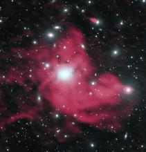 Combined radio and visual view of the Perseus galaxy cluster